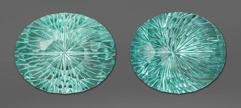 Paraiba Type Tourmaline from Mozambique, Tilt windowing and how the way a gemstone is cut impacts that
