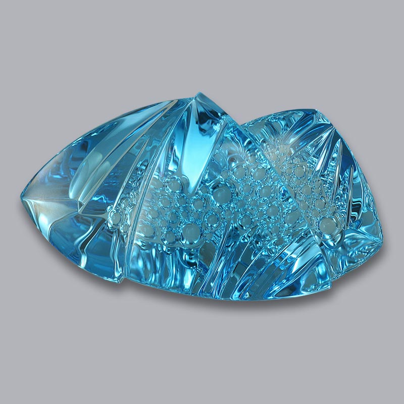 blue topaz sculptural cut 364.65 cts