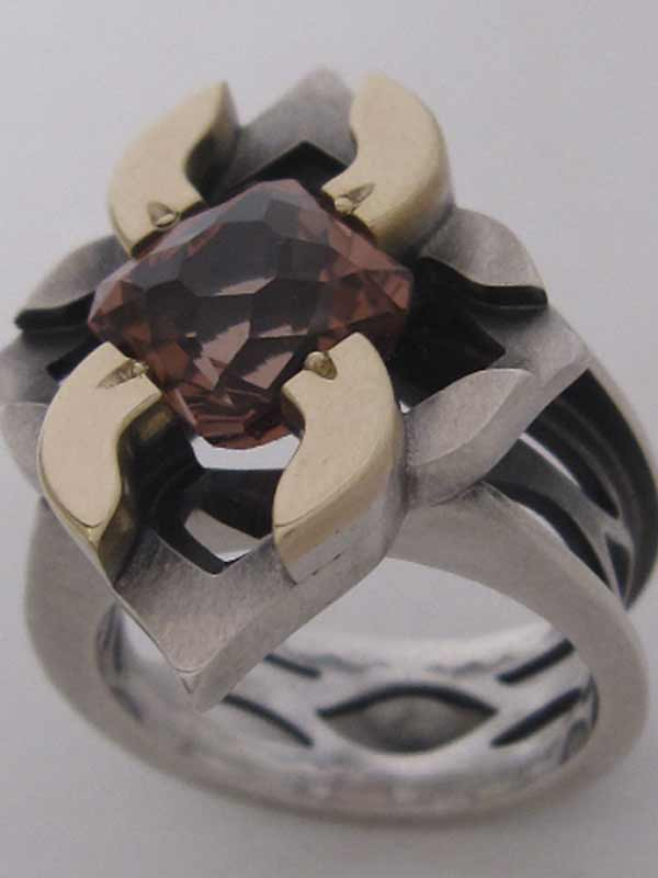 Custom Designer Silver and Gold Ring with Pink Tourmaline by Andy Lucas