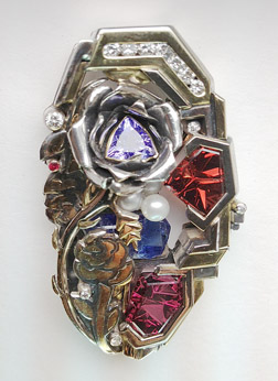 Chris SER Jewerly Fantasy pendant with Rhodolite, Gypsy Rose Garnet and other gems.
