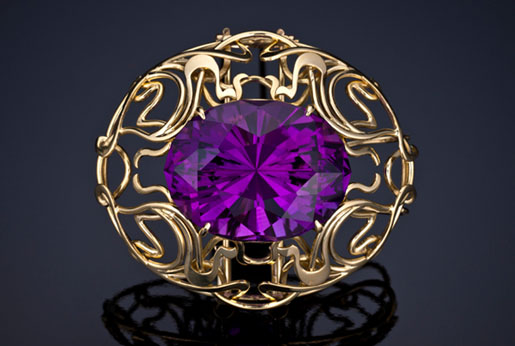 Custom brooch, gold and amethyst by R W Wise Goldsmiths