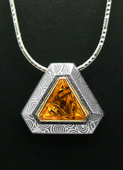 Damascus Steel Pendant Crown Jewellers