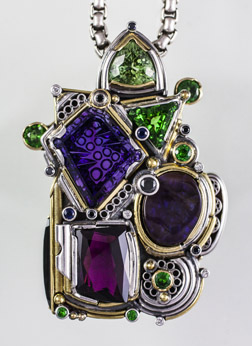 Fantasy Amethyst Pendant Silver and Gold