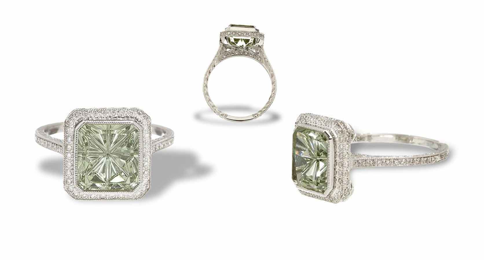 Green Beryl Ring In a Gold and Diamond mounting