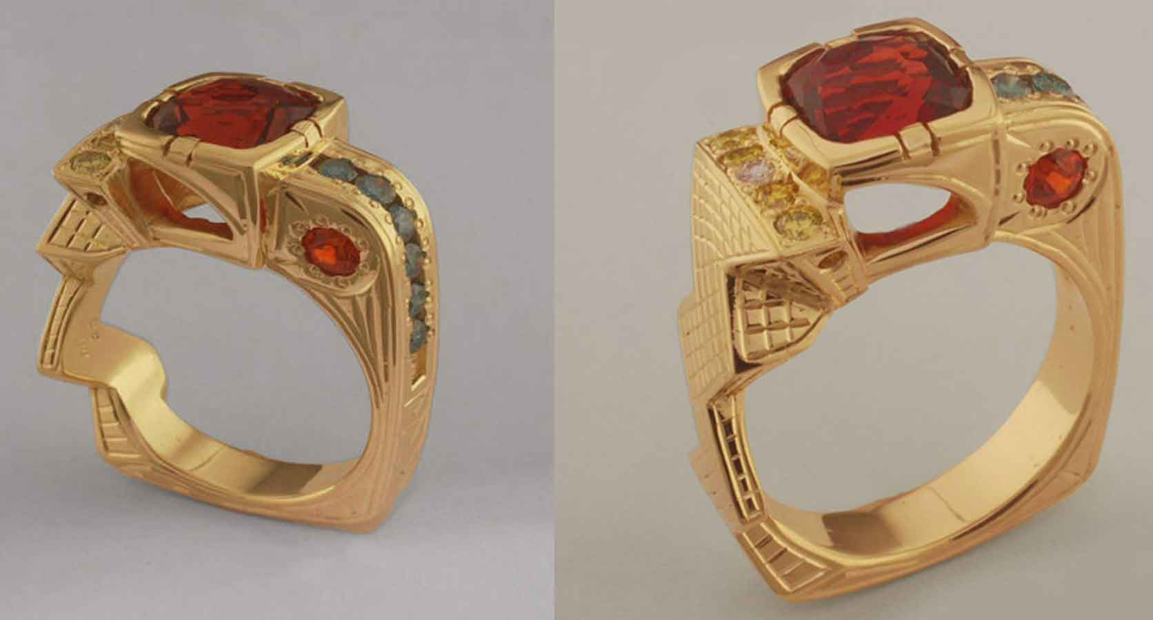 Gypsy Rose Garnet and Diamonds in a Mayan Designer Gold Ring
