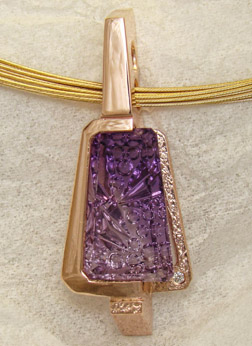 Amethyst and Rose Gold Pendant Custom designed by Peter Barr