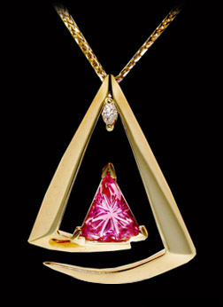 Designer Gold and Pink Tourmaline Necklace by Renee Schatzley