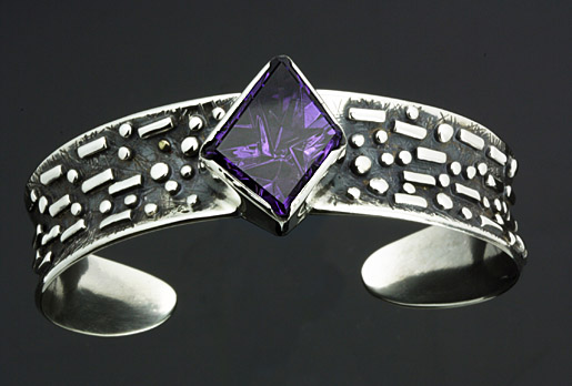 Designer Amethyst and Silver Bracelet by Sam Patania