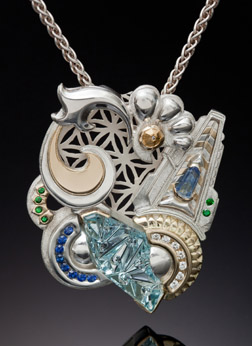 Fantasy Pendant with Aquamarine, Diamonds Gold and Silver.