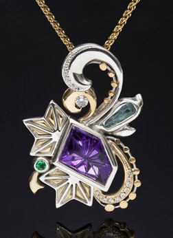 Sarahdigm Fantasy Pendant with Dreamscape™ cut Amethyst in Gold and Silver