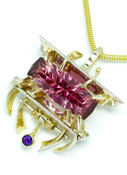Pink tourmaline by John Dyer, Design Jimi Gwinn