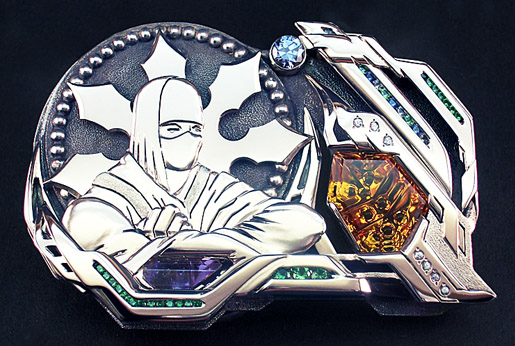 White gold and gemstone belt buckle