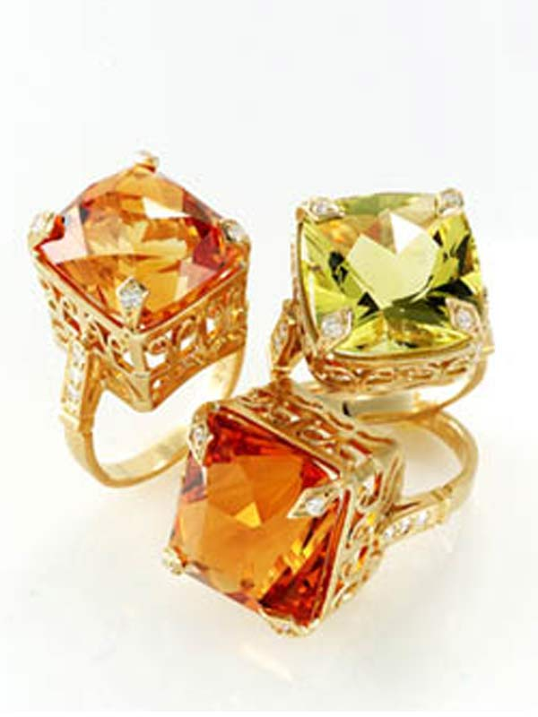 Citrine and lime citrine Jewel Box rings by Cathy Carmendy