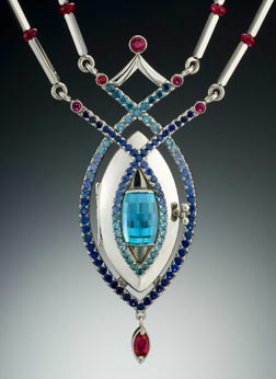 Blue Zircon Necklace custom design by Lisa Krikawa