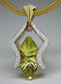 Gold, diamonds and Concave Cut Lime Citrine pendant