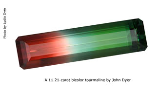 Bicolor tourmaline by John Dyer, Jewellery Business Magazine 2009