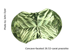 Concave-faceted prasiolite