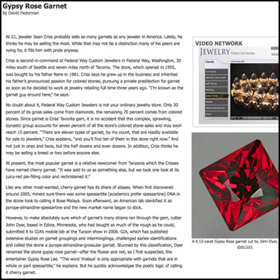 Article about Gypsy Rose Garnet in Modern Jeweler Magazine