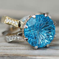 Custom Blue Topaz Ring ring with diamonds in Gold