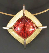 Gold Sunstone Pendant by R W Wise Goldsmiths