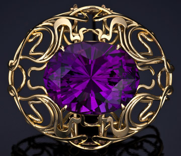 Art Nouveau pendant / brooch in 18KT gold with an Amethyst
