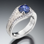 Designer sapphire ring with diamond and mokume gane