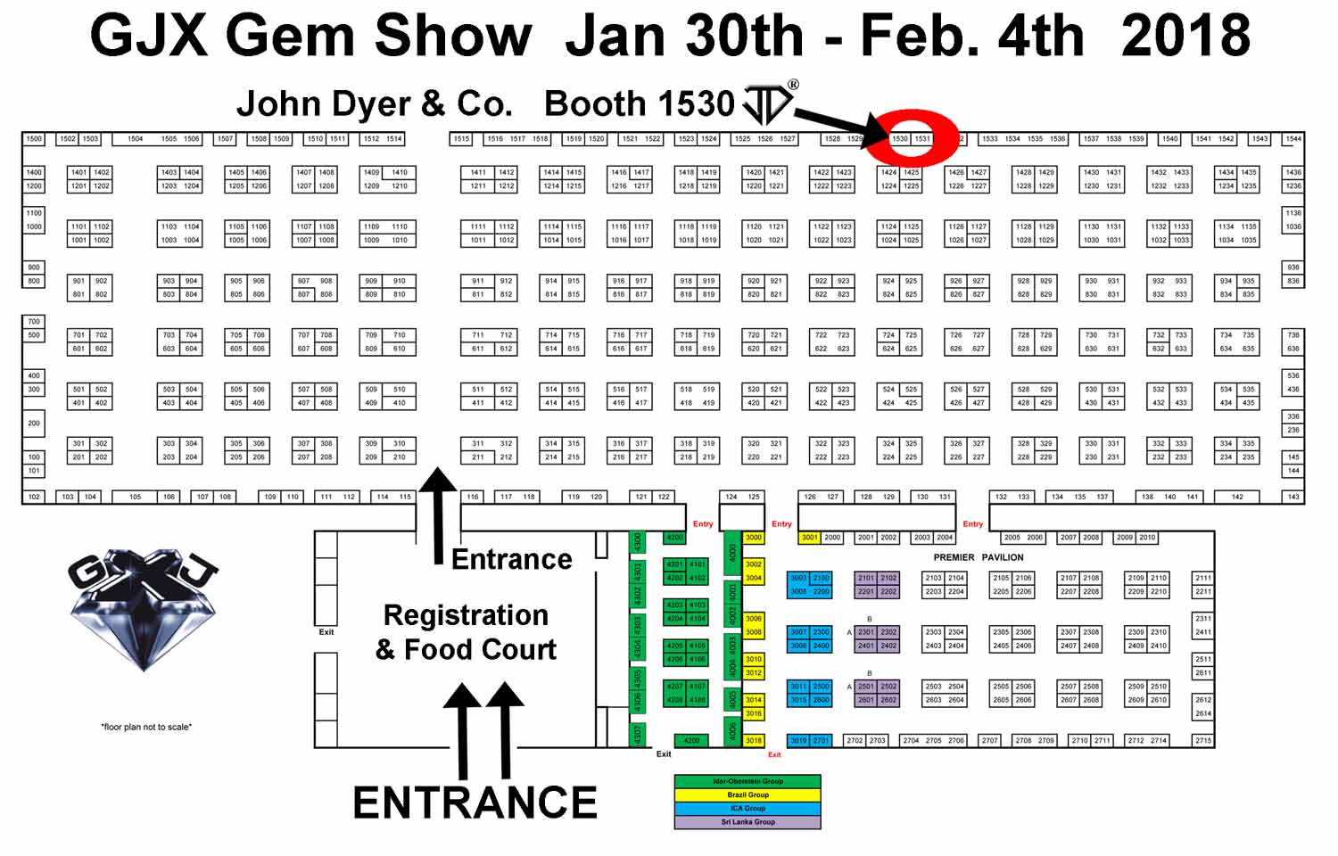 John Dyer Gems Booth Location in the GJX Gem Show in Tucson