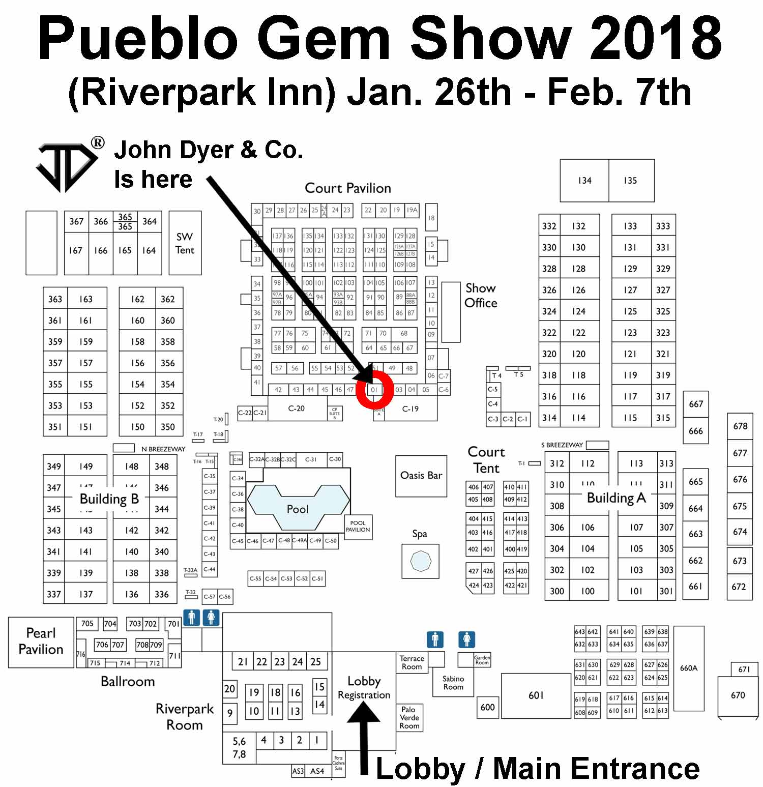 Pueblo Gem Show Floorplan with booth location